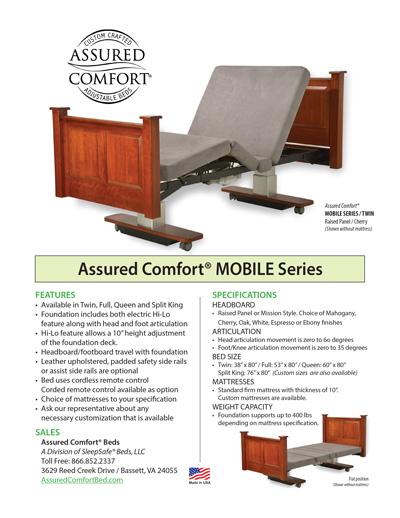 Assured Comfort Hi-Low Adjustable Beds - Mobile Series Information