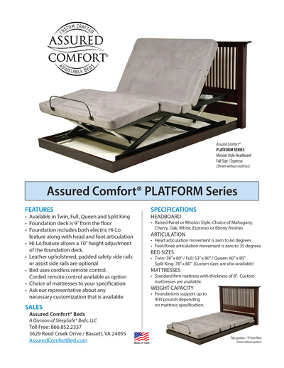 Assured Comfort Hi-Low Adjustable Beds - Platform Series Information
