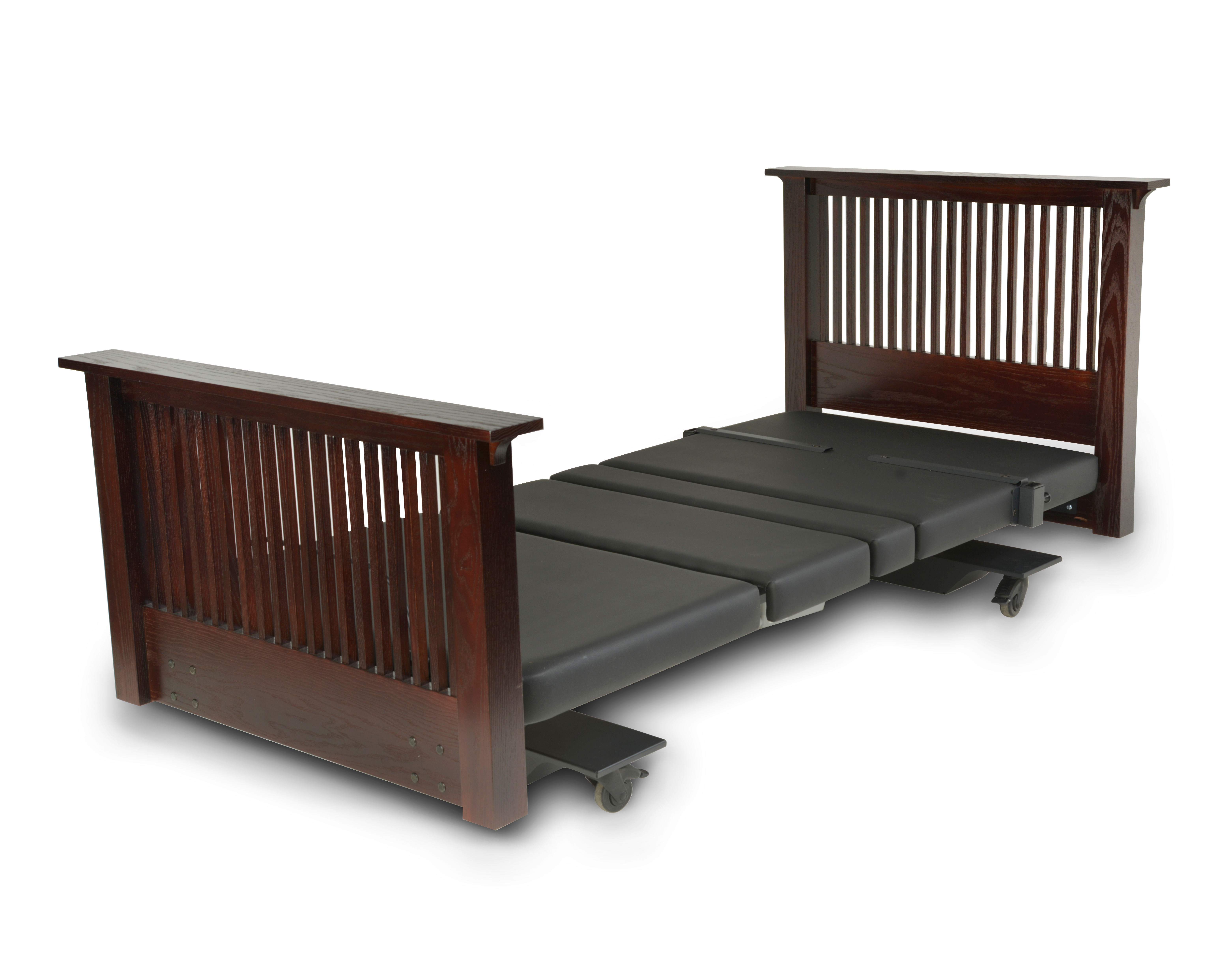 Assured Comfort Hi Low Adjustable Bed - Mobile Series - Mission Style - Down position - Assist Rail Adaptive