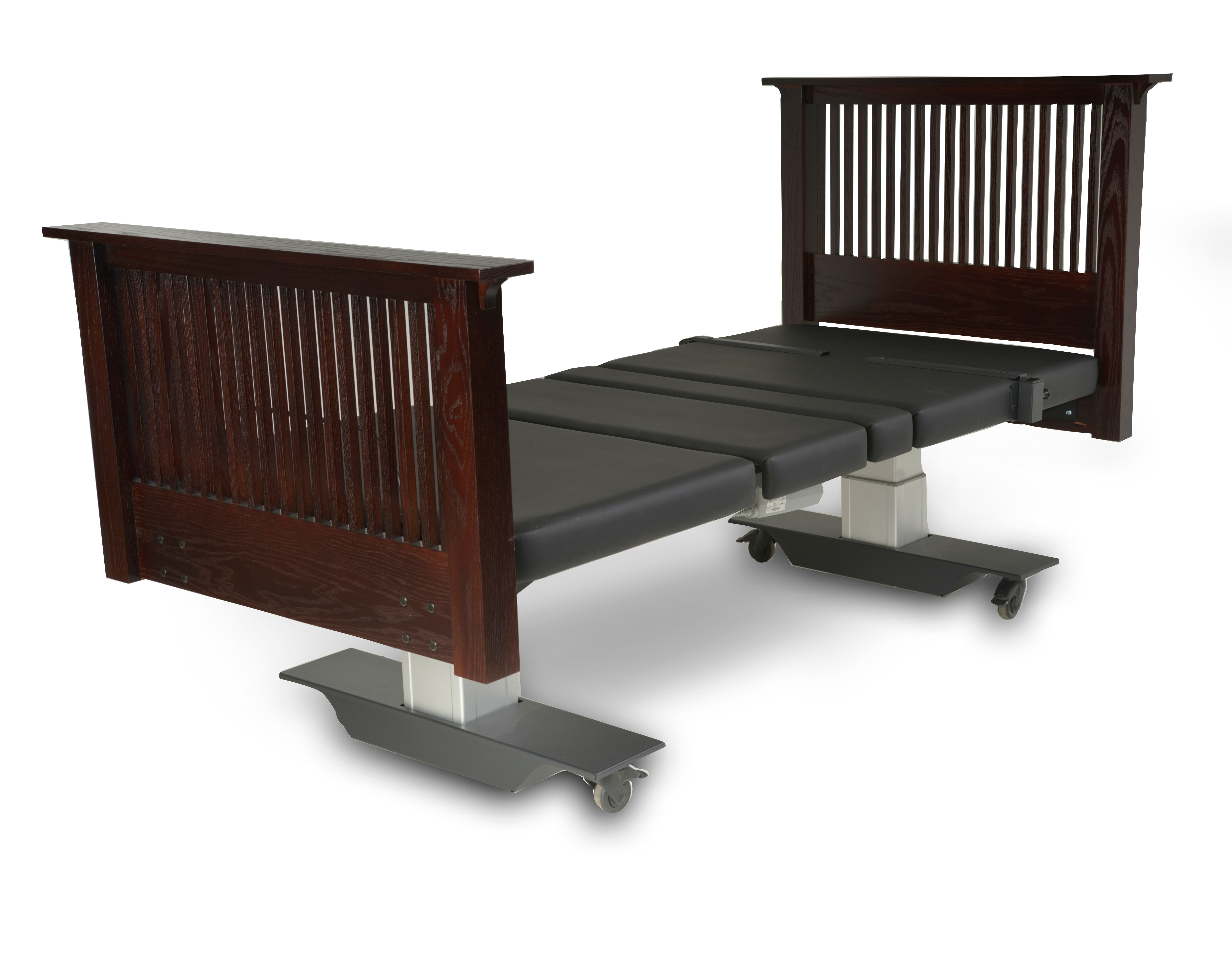 Assured Comfort Hi Low Adjustable Bed - Mobile Series - Mission Style - Up position - Assist Rail Adaptive