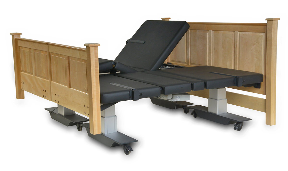 Assured Comfort Hi Low Adjustable Bed - Mobile Series - Raised Panel - Split King -One Side in Articulating position