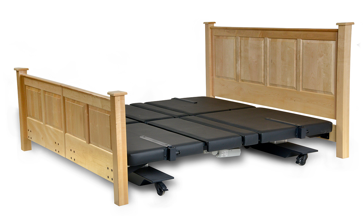 Assured Comfort Hi Low Adjustable Bed Mobile Series Raised Panel - Down position - with Side Safety Rails