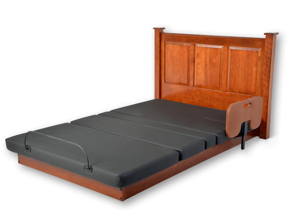 Assured Comfort Hi Low Adjustable Bed Platform Series Raised Panel - Down position - with one Side Safety Rail