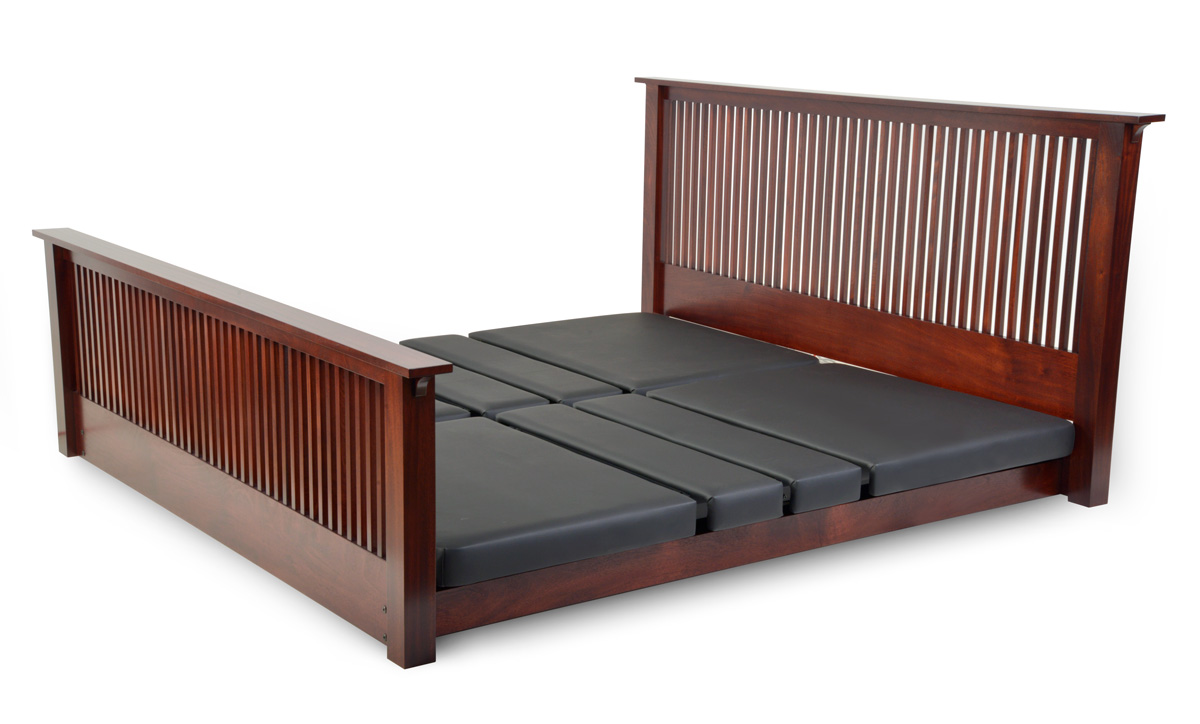 Assured Comfort Hi Low Adjustable Bed Platform Series Raised Panel - Down position - with one Side Safety Rail