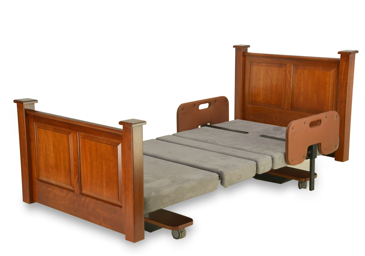 Assured Comfort Hi Low Adjustable Bed - Mobile Series - Raised Panel - Down position - with Side Safety Rails