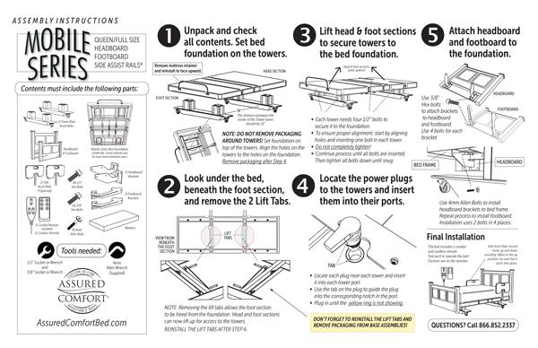 Assured Comfort Hi Low Adjustable Bed - Mobile Series Instructions