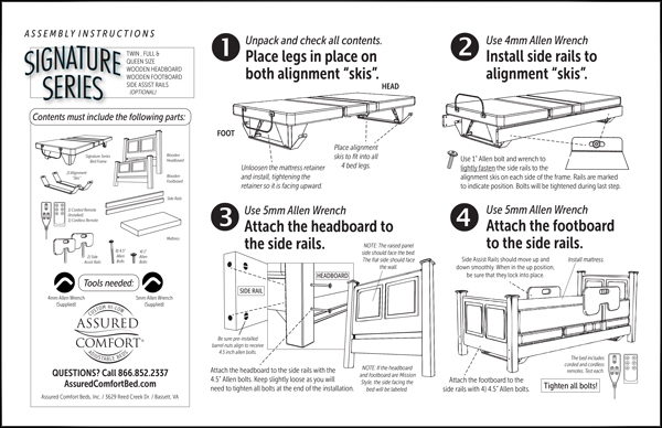 Assured Comfort Hi-Low Adjustable Bed - Signature Series - Assembly Instructions