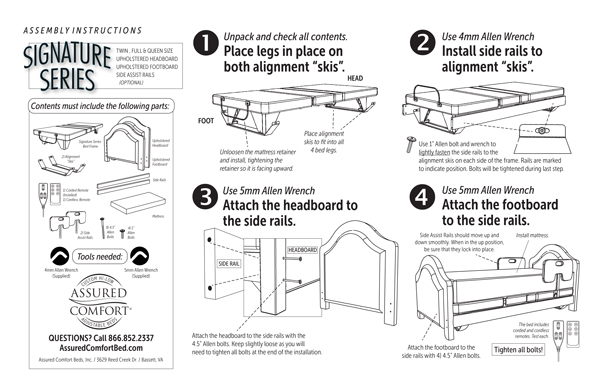 Assured Comfort Hi Low Adjustable Bed - Mobile Series Instructions