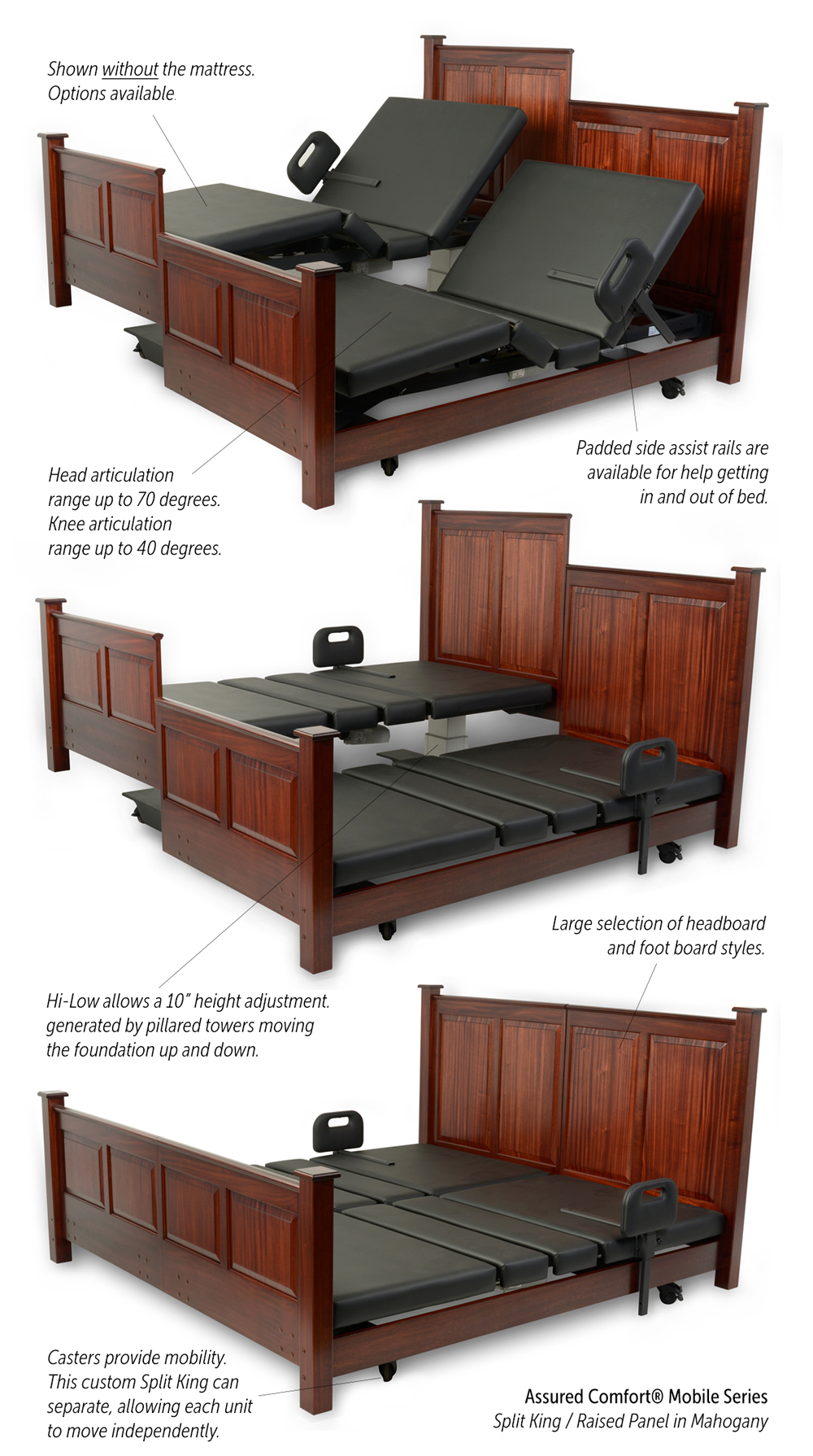 Assured Comfort Hi-Low Adjustable Beds - Mobile Series - Custom Split King