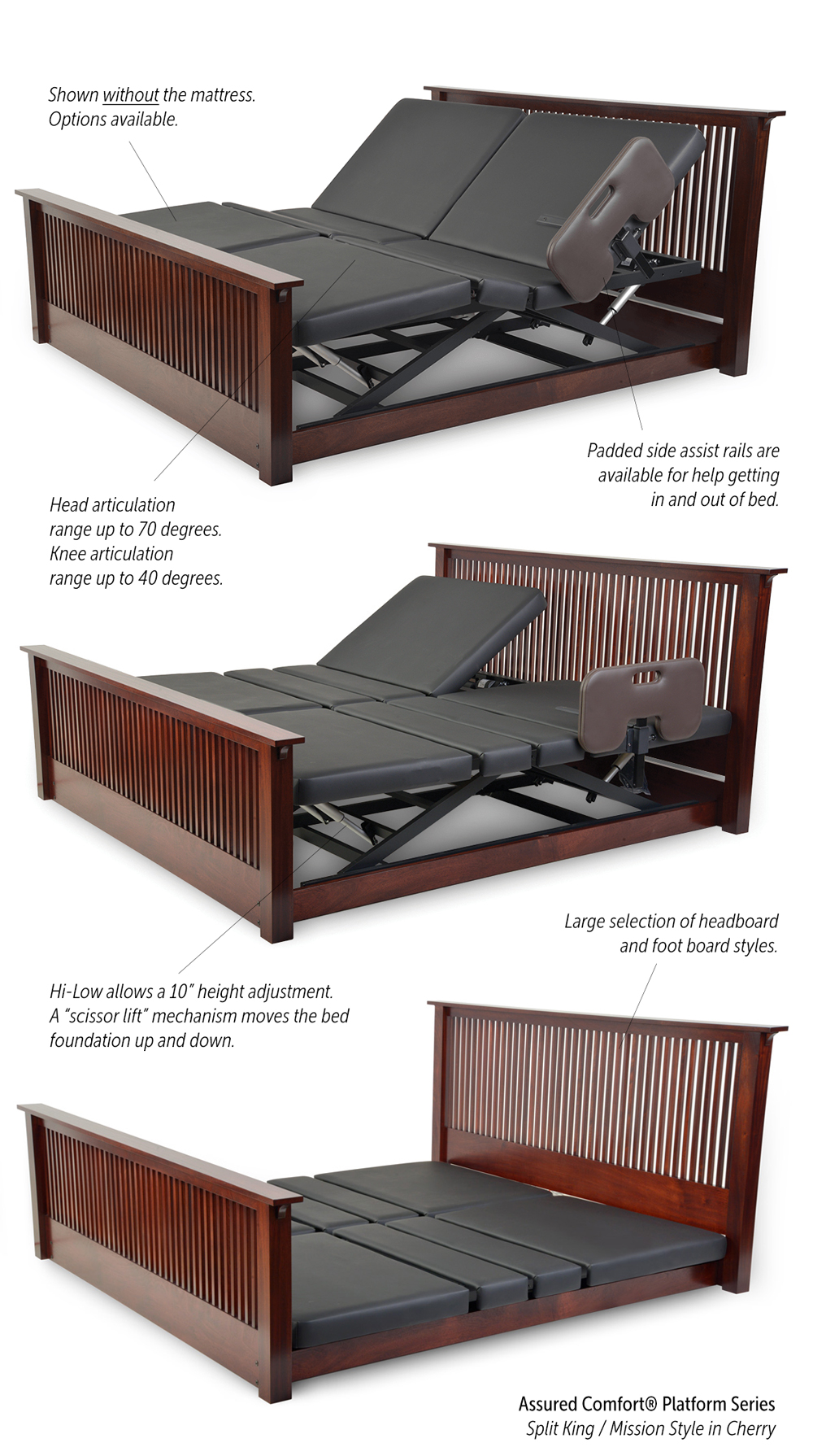 Assured Comfort Hi-Low Adjustable Beds - Platform Series - Split King