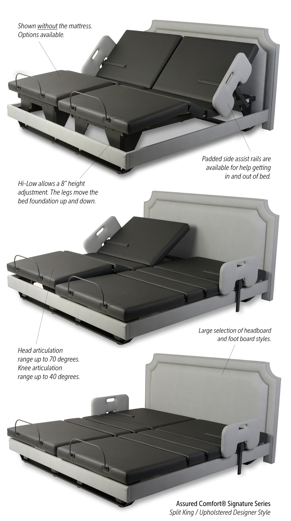 Assured Comfort Hi-Low Adjustable Beds - Signature Series - Split King