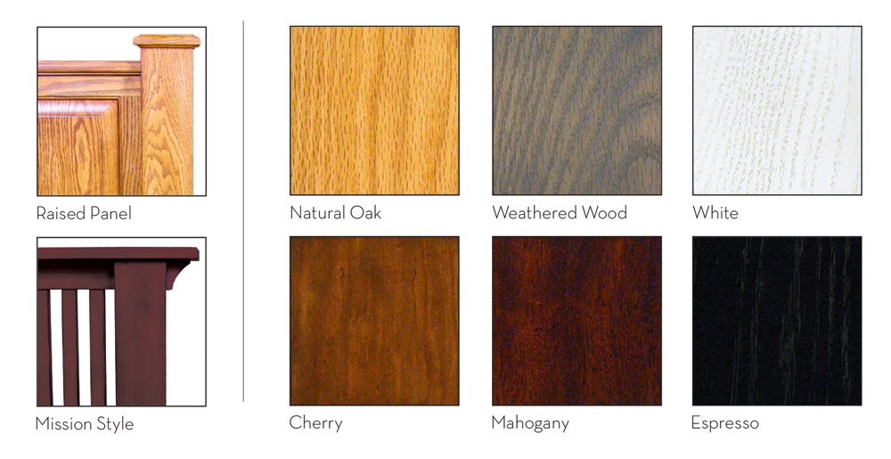 Assured Comfort Wood Selections for Headboards and Foot boards