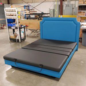 Assured Comfort Hi Low Platform Series Queen w/Blue Upholstery